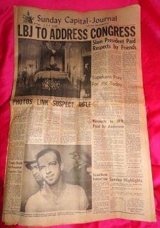 11 24 64 Newspaper John Kennedy Death Lee Harvey Oswald