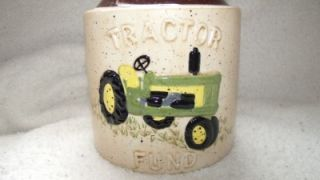 Rare Vintage John Deere Glass Jar Piggy Bank Red Shed Green Farm Tractor Fund
