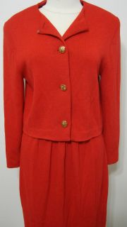 St John Marie Gray Red Knit Gold Button Front LS Skirt Suit 10