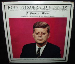 John F Kennedy A Memorial Album LP Vinyl Record of Actual Speeches