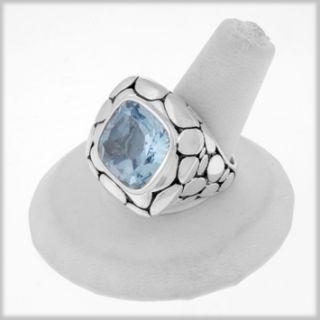 125652 JOHN HARDY Batu Kali Silver Blue Topaz Large Square Ring 6