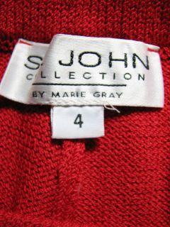 St John Collection Red Santana Knit Pants Sz 4
