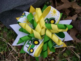 John Deere Tractor Green Yellow Girls Hairbow