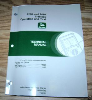John Deere 7210 7410 Tractor O T Technical Manual JD