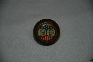 "Original Brass Border 1 1 4"" 1896 Campaign Pin McKinley Roosevelt Button Pinback"