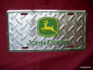 JOHN DEERE GREEN LOGO Car Tag Metal License Diamond Plate NEW