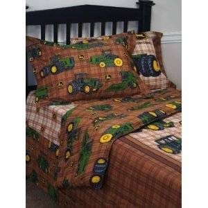 John Deere Traditional Twin Comforter Brown Plaid Pattern Great Price New