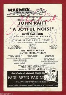 "John Raitt ""A Joyful Noise"" Tommy Tune 1966 Signed Flop"
