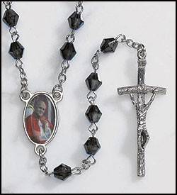 John Paul II Black Rosary Silver Glid Cross Blue Beads Jesus Crucifix Church