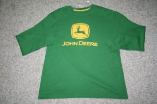 Large LS John Deere green cotton poly thermal mens crewneck shirt 24 x 28