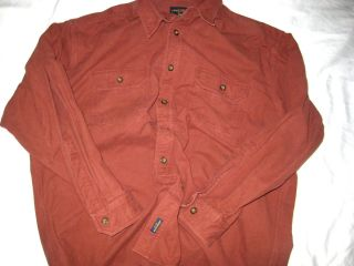 Woolrich John Rich Bros Sedona Red Heavy Flannel Shirt Logo Buttons Nice XXL