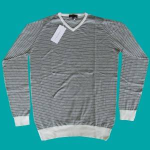 NEW Mens John Smedley Jaxon Striped Pullover Grey White V Neck Jumper Sweater S