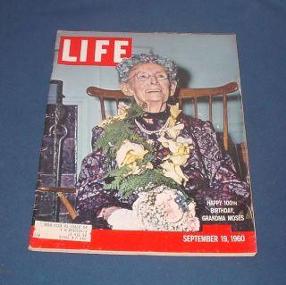 Life Magazine Sept 19 1960 Grandma Moses Earnest Hemingway John Wayne Nice