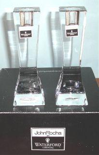 "Waterford John Rocha Geo Crystal Candlesticks 6"" Boxed New"