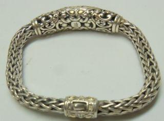 John Hardy Sterling Silver 18K Gold Crystal Pave Stones Woven Bracelet Women'S
