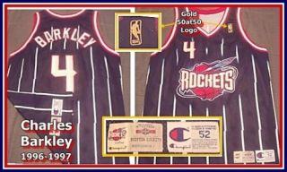 Charles Barkley 1996 97 Game Worn 50th Gold Logo Champion Houston Rockets Jersey