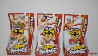 New 3 WWE Wrestling Rumblers Rampage Figures Rey Mysterio cm Punk John Cena