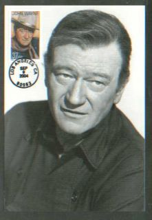 2004 John Wayne Actor Hollywood Classico Post Card Round Date Cancel FDC