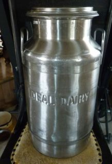 "Stainless Steel Milk Cream Can John Wood Co Advertising ""Ideal Dairy"" 20 Qt"