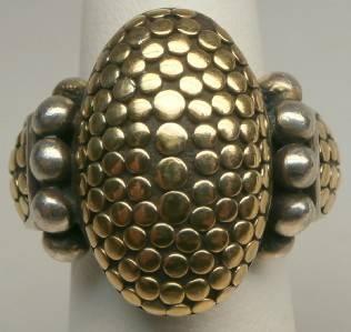 John Hardy Dot Design 18k Yellow Gold Sterling Silver Ring Size 5 Women M 340