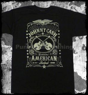 Johnny Cash American Rebel Whiskey Label Official T Shirt Fast Shipping