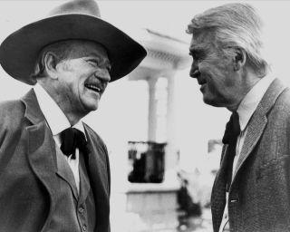 Rare Still John Wayne Last Film Jimmy Stewart Off Cam