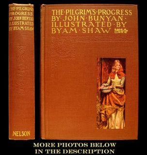 1928 THE PILGRIMS PROGRESS JOHN BUNYAN RARE ILLUSTRATED BYAM SHAW FINE BINDING