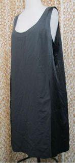 EILEEN FISHER Womens Gray Silk Contrast Panel Sleeveless Shift Dress sz L