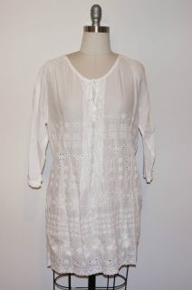 Johnny Was Collection White Cotton Tie Neck Tunic s M