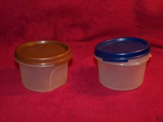Tupperware 2 Small Storage Containers w Blue Brown Lid