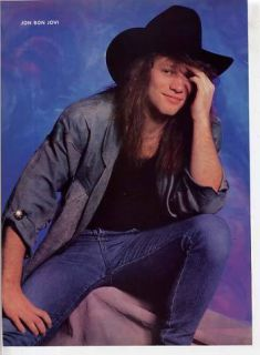 Jon Bon Jovi Mini Poster Teen Color Pin Up in Cowboy Hat Full Page Clipping