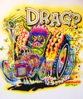Johnny ACE Art AIRBRUSHED T Shirt RAT FINK Ed Big Daddy Roth DRAG Toons MONSTER
