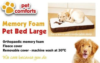 LARGE Orthopaedic Joint Support Memory Foam Pet Cat Dog Bed Mat 90x68 7cm