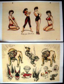 Vintage Zeis Johnstone Tattoo Flash Color Set 11 x 17 RARE