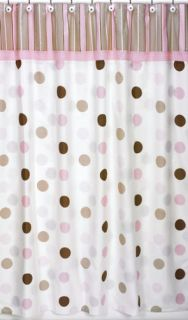 JoJo Designs Pink Brown Mod Dots Modern Shower Curtain