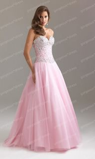 Stock Beaded A line Tulle Quinceanera Ball gown Evening Prom dress SZ 6 16