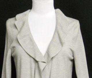 TALBOTS Size M Heather GRAY Merino Wool RUFFLE Drape CARDIGAN Sweater PERFECT