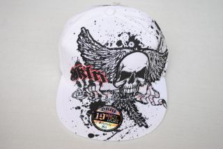 NWT White SKULL SKIN INDUSTRIES Stretch Fitted baseball ball CAP flat bill HAT