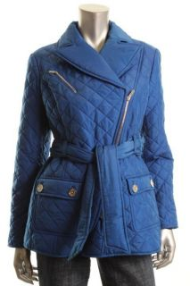 Jones New York New Blue Quilted Asymmetrical Zip Front Belted Coat Petites PM