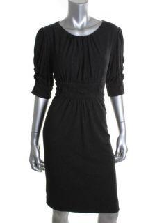 Jones New York NEW Gray Smocked Elbow Sleeved High Waist Casual Dress 14 BHFO