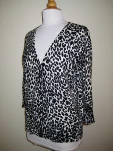 JONES NEW YORK SPORT Cheetah Print Cardigan Sweater XL