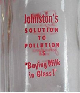 JOHNSTONS DAIRY Half Pint PYRO MILK Bottle Monroeville PA COW Picture
