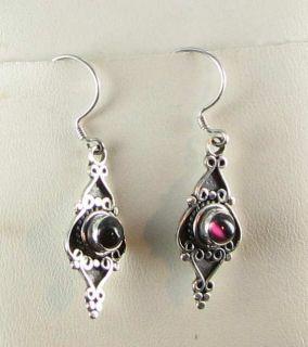 New Sterling Silver Genuine Garnet Deep Red Pierced Dangle Drop Earrings Ornate