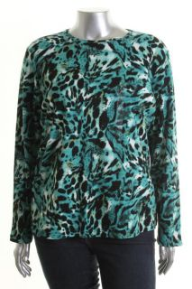 Jones New York NEW Blue Printed Long Sleeve Crew Neck Tunic Top Shirt Plus 2X