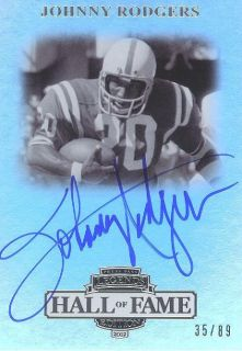 2012 PP Legends Hall of Fame Silver Johnny Rodgers on Card Autograph 35 89