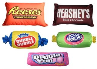 Sweet Thang Set of 5 Candy Pillows Hershey Bar Bubble Yum Reeses Jolly Rancher