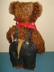 German Mohair Schoko Baby in Lederhosen Hermann Teddy Bear Ltd Ed 30cm Tall