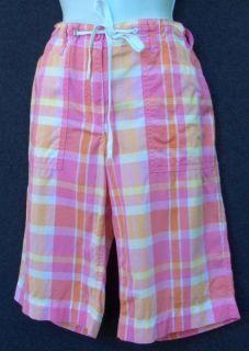 Jones New York Sport Sz 8 Pink Plaid Cotton Bermuda 4 Pocket Casual Shorts