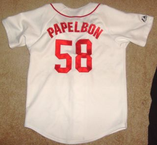 Jonathan Papelbon Boston Red Sox Jersey Shirt SEWN PATCH Youth Boys Medium