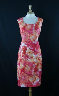Jones New York Collection Pink Orange White Floral Cocktail Dress Size 14 DT1062